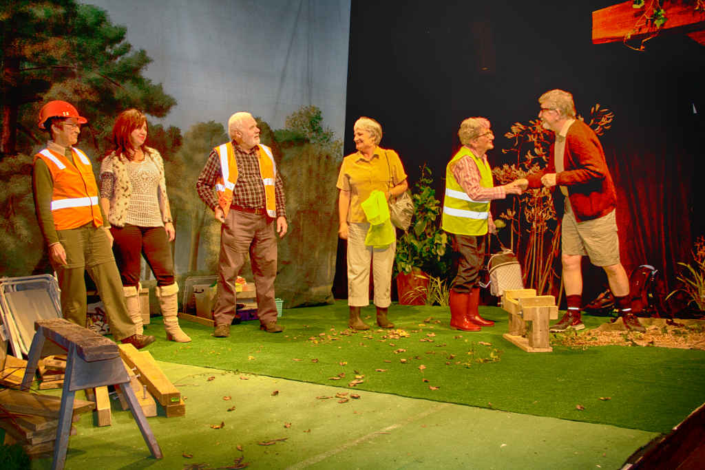 From left, Kirsty Warden (Trish), Tracey Carter (Mandy), Robert Wyatt (Bob), Julie Thomas (Beryl); Della Gilliver (Molly) and Barry Magowan (Clive)