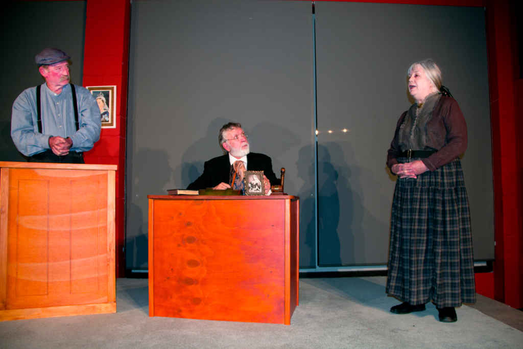 Moses Preston (John Ormsby) in the dock, Magistrate Herbert Brabant (Barry Magowan) and Shopkeeper Ellen Wylie (DI Logan)