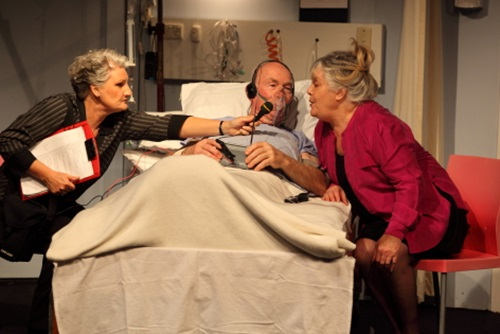 Fiona (Julie Thomas), Walter (Mike Cotton) and Dr Strelitz (Di Logan)