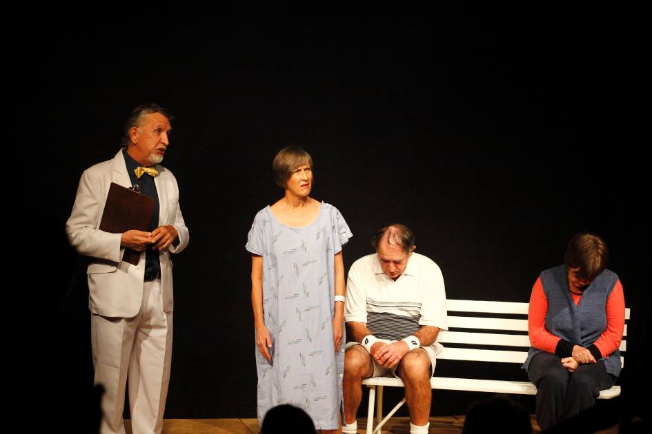 Larry (Barry Magowan), Sally (Kirsty Warden), Melvin (Bob Baunton) and Bernice (Liz Cosgrave) in a scene from 'Heavens Above