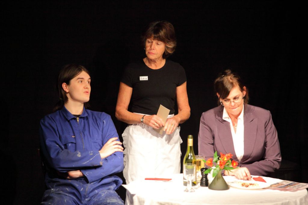 Kate (Hilary Jacobs), Edna (Althea Ormsby) and Sam (Ben Hancox)