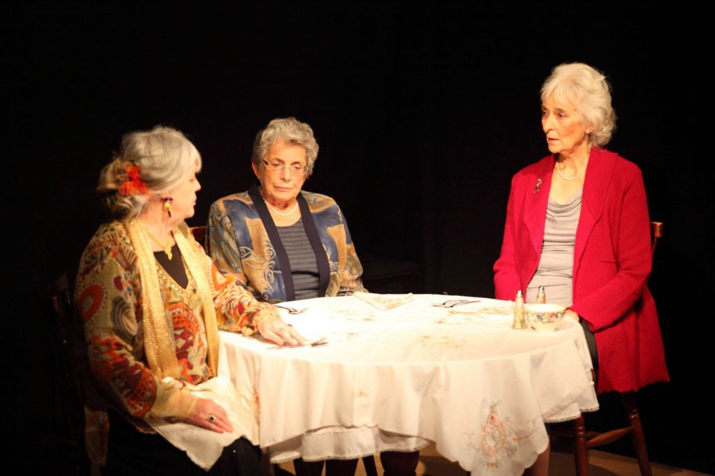 Mrs Garrity (Di Logan), Mrs Bramson (Elisabeth Beamish) and Miss Tolliver (Ann  Rowland) in a scene from 'A Candle on the Table'