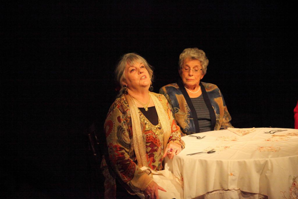 Mrs Garrity (Di Logan) and Mrs Bramson (Elisabeth Beamish) in a scene from 'A Candle on the Table'